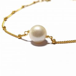 Sterling Silver Gold Pearl Delicate Bracelet with Station Chain Bracelet Everyday Bracelet for Women Bracelets Jewellery for Girls Silver Jewellery Pack Of 1 Bracelet Ideal for Women