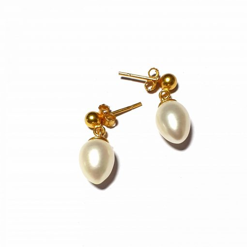 Sterling Silver White Pearl Simplistic Stud Earrings Everyday Earrings for Women Earrings Gift for Girls Silver Earrings Pack Of 1 Pair Earrings Ideal for Women