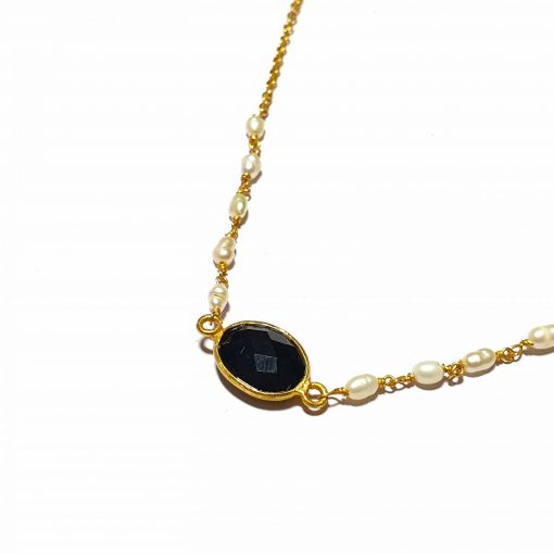 Sterling Silver Black Quartz Simplistic Single Stone Bezel Necklace Everyday Girls Necklace Necklace Silver Necklace Womens Jewellery Pack Of 1 Necklace Ideal for Women