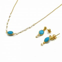 Sterling Silver Blue Zircon Delicate Single Stone Classic Necklace Everyday Necklaces Silver Necklaces Necklace for Women Gold Necklaces Pack Of 1 Necklace and 1 Pair Earring Ideal for Women