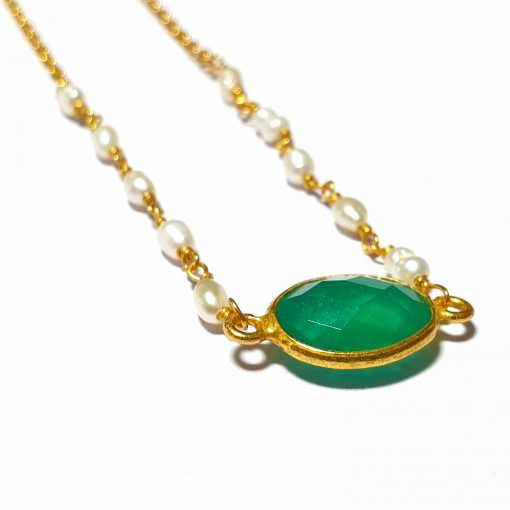Sterling Silver Green Quartz Simplistic Single Stone Bezel Necklace Everyday Girls Necklace Necklace Silver Necklace Womens Jewellery Pack Of 1 Necklace Ideal for Women