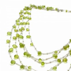 Sterling Silver Green Peridot Layered Graduating Necklace Everyday Necklaces Silver Necklaces Necklace for Women Multiline Necklaces Pack Of 1 Necklace Ideal for Women