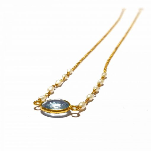 Sterling Silver Light Blue Quartz Simplistic Single Stone Bezel Necklace Everyday Girls Necklace Necklace Silver Necklace Womens Jewellery Pack Of 1 Necklace Ideal for Women