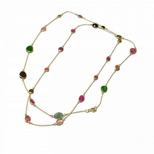 Sterling Silver Multi Tourmaline 40 Inch Long Bezel Simplistic Necklace Everyday Girls Necklace Necklace Silver Necklace Long Necklace Pack Of 1 Necklace Ideal for Women