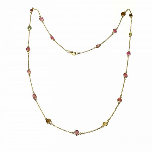Sterling Silver Multi Tourmaline Medium Bezel Simplistic Necklace Everyday Girls Necklace Necklace Silver Necklace Long Necklace Pack Of 1 Necklace Ideal for Women