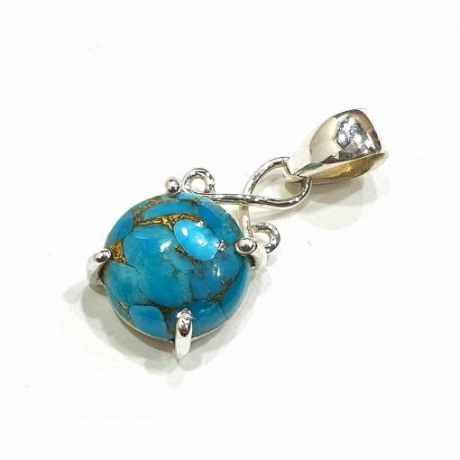 Sterling Silver Blue Turquoise Simplistic Pendant Everyday Silver Pendants Pendants Necklace for Girls Gemstone Pendants Pack Of 1 Pendant Ideal for Women