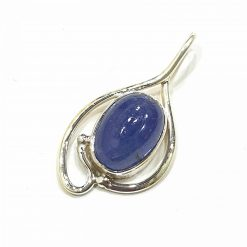 Sterling Silver Blue Tanzanite Double Fold Pendant Everyday Silver Pendants Pendants Necklace for Girls Gemstone Pendants Pack Of 1 Pendant Ideal for Women