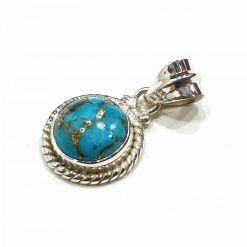 Sterling Silver Blue Turquoise Classic Pendant Everyday Silver Pendants Pendants Necklace for Girls Gemstone Pendants Pack Of 1 Pendant Ideal for Women