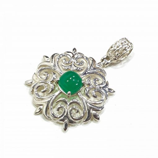 Sterling Silver Green Onyx Floral Pendant Everyday Silver Pendants Pendants Necklace for Girls Gemstone Pendants Pack Of 1 Pendant Ideal for Women