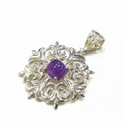 Sterling Silver Purple Amethyst Floral Pendant Everyday Silver Pendants Pendants Necklace for Girls Gemstone Pendants Pack Of 1 Pendant Ideal for Women