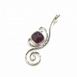 Sterling Silver Red Garnet Long Spiral Pendant Everyday Silver Pendants Pendants Necklace for Girls Gemstone Pendants Pack Of 1 Pendant Ideal for Women