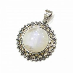 Sterling Silver White Moonstone White Sun Pendant Everyday Silver Pendants Pendants Necklace for Girls Gemstone Pendants Pack Of 1 Pendant Ideal for Women