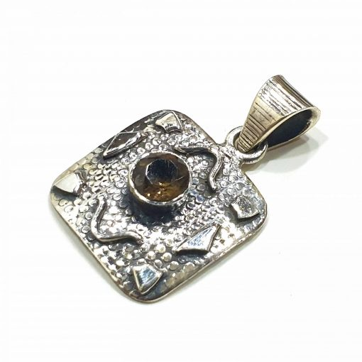 Sterling Silver Yellow Citrine Vintage Pendant Everyday Silver Pendants Pendants Necklace for Girls Gemstone Pendants Pack Of 1 Pendant Ideal for Women