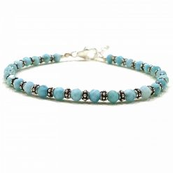 Sterling Silver Blue Larimar Nazariye Bracelet Everyday Nazariya Bracelet Evil Eye Protection Bracelet for Girls Evil Eye Jewellery Pack Of 1 Bracelet Ideal for Women