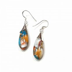 Sterling Silver Orange Oyster Turquoise Classic Tie Earrings Everyday Earrings Silver Jewellery Gift Silver Earrings Silver Gifts Pack Of 1 Pair Earring Ideal for Women