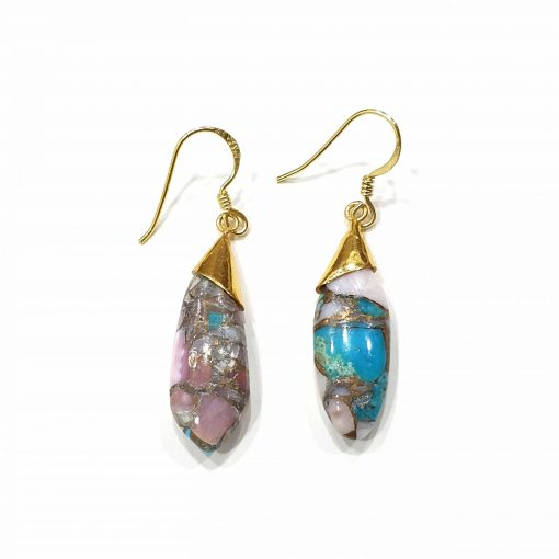 Sterling Silver Pink Turquoise Copper Pink Opal Classic Tie Earrings Everyday Earrings Silver Jewellery Gift Silver Earrings Silver Gifts Pack Of 1 Pair Earring Ideal for Women