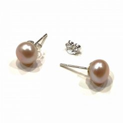 Sterling Silver White Pearl Simplistic Round Stud Earrings Everyday Earrings Gifts for Women Earrings for Women Gifts for Girls Pack Of 1 Pair Earring Ideal for Women