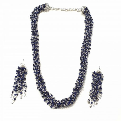 Sterling Silver Blue Sapphire Topknot Rosary Necklace Everyday silver gifts jewelry gifts silver jewelry jewelry for women Pack Of 1 Necklace and 1 Pair Earring Ideal for Women