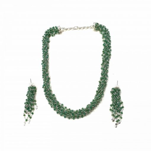 Sterling Silver Green Emerald Topknot Rosary Necklace Everyday gifts jewellery gifts jewellery for women silver necklace Pack Of 1 Necklace and 1 Pair Earring Ideal for Women