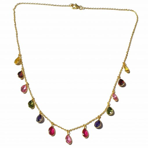 Sterling Silver Multi Color Zircon Light Weight Simplistic Gold Plated Necklace Everyday Necklace for Women Silver Necklace Gold Necklace Light Weight Necklace Pack Of 1 Necklace Ideal for Women