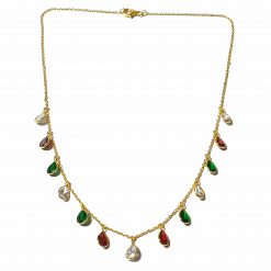 Sterling Silver Multi Color Zircon Light Weight Simplistic Gold Plated Necklace Everyday Gold Color Necklace Gift for Women Multi Color Necklace Gift for Mother Pack Of 1 Necklace Ideal for Women