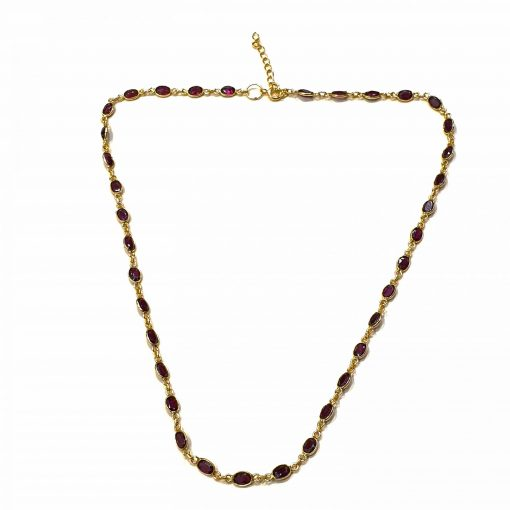 Sterling Silver Red Garnet Simplistic Bezel Necklace Everyday Jewellery Necklaces for girls Necklaces for Women Wedding Jewellery Pack Of 1 Necklace Ideal for Women