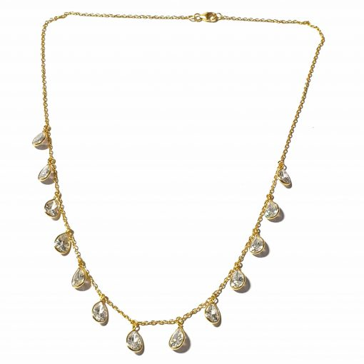 Sterling Silver White Zircon Light Weight Simplistic Gold Plated Necklace Everyday Necklace for Women Silver Necklace Gold Necklace Light Weight Necklace Pack Of 1 Necklace Ideal for Women