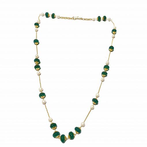 Sterling Silver Green Onyx Simplistic Necklace Everyday Gold Color Necklace Gift for Women Multi Color Necklace Gift for Mother Pack Of 1 Necklace Ideal for Women
