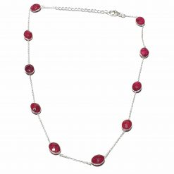 Sterling Silver Red Ruby Light Bezeled Necklace Everyday jewelry for girls wedding jewelry wedding jewellery Womens Jewellery Pack Of 1 Necklace Ideal for Women