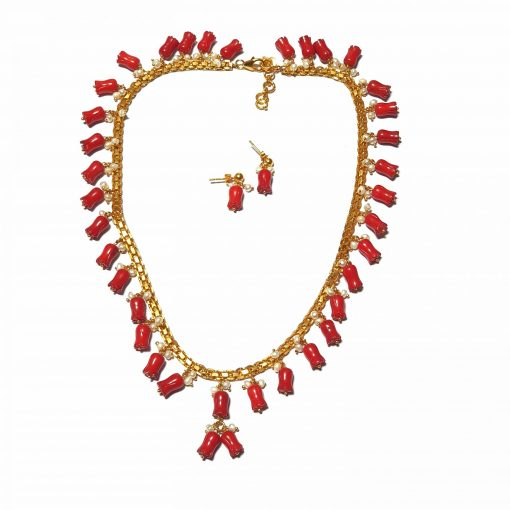 Sterling Silver Red Coral Egyptian Necklace Contemporary Gold Color Necklace Gift for Women Multi Color Necklace Gift for Mother Pack Of 1 Necklace Ideal for Women