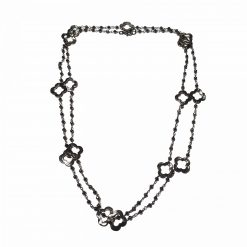 Sterling Silver Black Hematite 40 Inch Long Necklace Ethnic Gifts for Women gemstone necklace gifts for mother gemstones Pack Of 1 Necklace Ideal for Women
