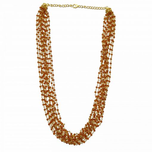 Sterling Silver Brown Hessonite 18 Inch Layered Multiline Necklace Contemporary Necklace for Women Silver Necklace Gold Necklace Light Weight Necklace Pack Of 1 Necklace and 1 Pair Earring Ideal for Women