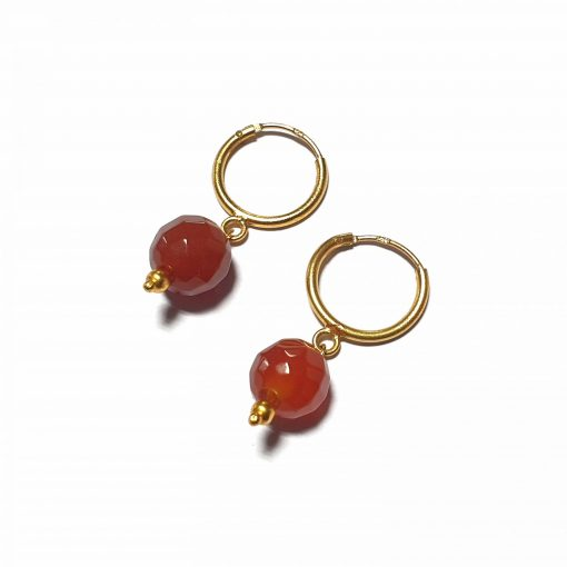 Sterling Silver Red Onyx Single Stone Bali Earrings Ethnic small earrings silver gifts gifts jewellery Pack Of 1 Pair Earrings Ideal for Women::Girls