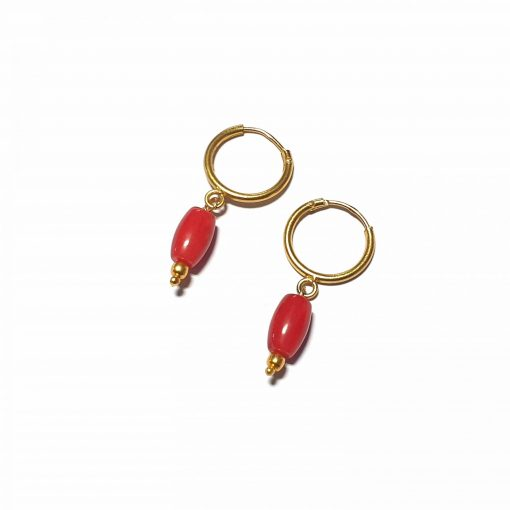 Sterling Silver Red Coral Single Stone Bali Earrings Contemporary earrings earing earrings women earings Pack Of 1 Pair Earrings Ideal for Women::Girls