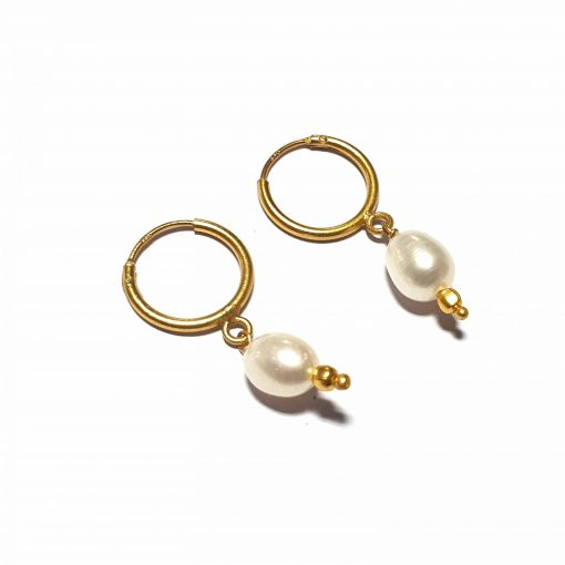 Sterling Silver White Pearl Single Stone Bali Earrings Contemporary earrings earing earrings women earings Pack Of 1 Pair Earrings Ideal for Women::Girls
