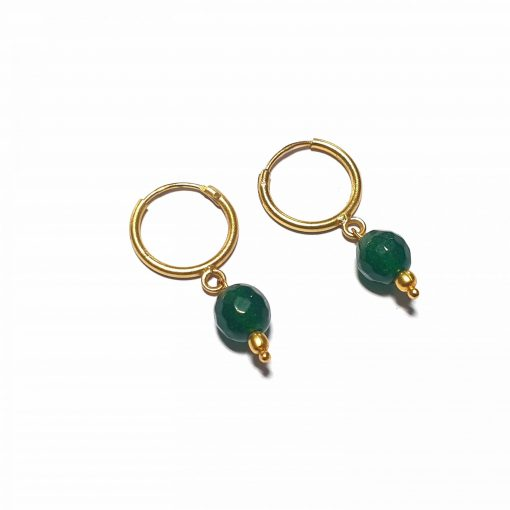 Sterling Silver Green Onyx Single Stone Bali Earrings Ethnic Silver Earrings Stud Earrings Simple Earrings Earrings for her Pack Of 1 Pair Earrings Ideal for Women::Girls