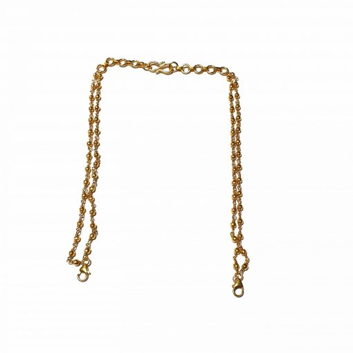 Sterling Silver Gold  Double Line Back Chain Necklace Ethnic Silver Necklace Gold Jewelry Silver Jewelry Gold Necklaces Pack Of 1 Necklace Ideal for Women::Girls