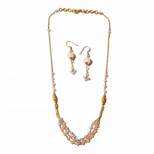 Sterling Silver Pink Chalcedony Dainty Royal Necklace Contemporary Silver Necklace Gold Jewelry Silver Jewelry Gold Necklaces Pack Of 1 Necklace and 1 Pair Earring Ideal for Women::Girls