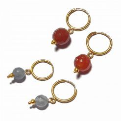Silver Bali Set of 2 Combo with Grey Chalcedony and Red Chalcedony Gold Polished Bali in Pure Silver 925 | Earrings for Women