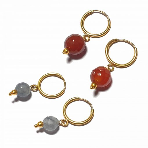 Silver Bali Set of 2 Combo with Grey Chalcedony and Red Chalcedony Gold Polished Bali in Pure Silver 925   Earrings for Women