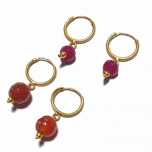 Silver Bali Set of 2 Combo with Red Chalcedony and Pink Chalcedony Gold Polished Bali in Pure Silver 925 | Earrings for Women