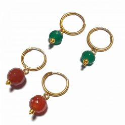 Silver Bali Set of 2 Combo with Red Chalcedony and Green Chalcedony Gold Polished Bali in Pure Silver 925 | Earrings for Women