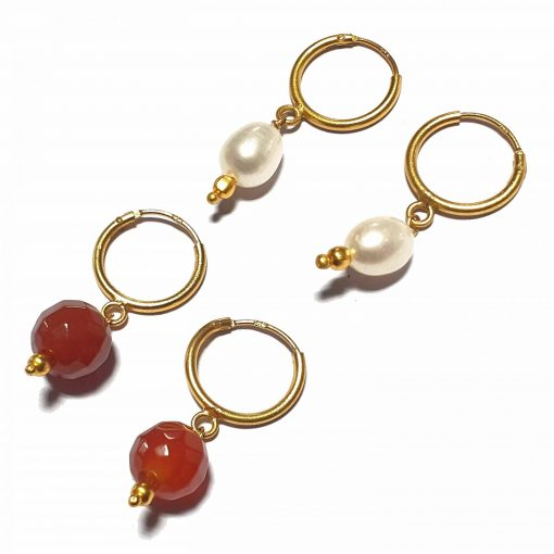 Silver Bali Set of 2 Combo with Red Chalcedony and White Pearl Gold Polished Bali in Pure Silver 925 | Earrings for Women