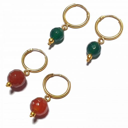 Silver Bali Set of 2 Combo with Red Chalcedony and Dark Green Chalcedony Gold Polished Bali in Pure Silver 925 | Earrings for Women