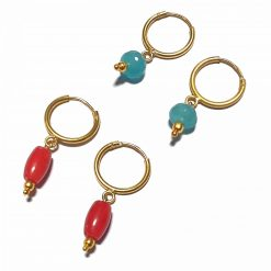 Silver Bali Set of 2 Combo with Synthetic Coral and Blue Chalcedony Gold Polished Bali in Pure Silver 925 | Earrings for Women