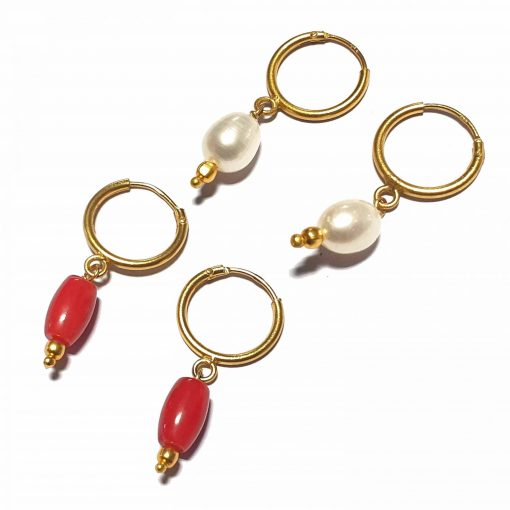 Silver Bali Set of 2 Combo with Synthetic Coral and White Pearl Gold Polished Bali in Pure Silver 925 | Earrings for Women
