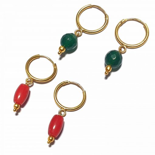 Silver Bali Set of 2 Combo with Synthetic Coral and Dark Green Chalcedony Gold Polished Bali in Pure Silver 925 | Earrings for Women