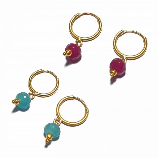 Silver Bali Set of 2 Combo with Blue Chalcedony and Pink Chalcedony Gold Polished Bali in Pure Silver 925 | Earrings for Women