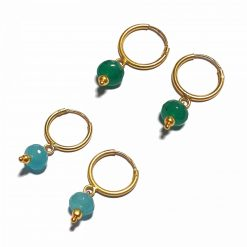 Silver Bali Set of 2 Combo with Blue Chalcedony and Green Chalcedony Gold Polished Bali in Pure Silver 925 | Earrings for Women