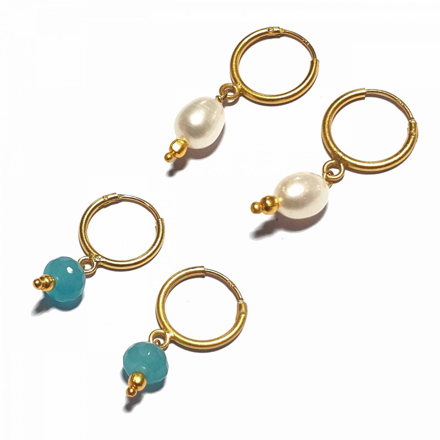 Silver Bali Set of 2 Combo with Blue Chalcedony and White Pearl Gold Polished Bali in Pure Silver 925 | Earrings for Women